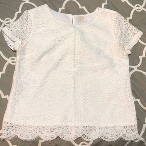 J Crew lace short sleeve top, size 8